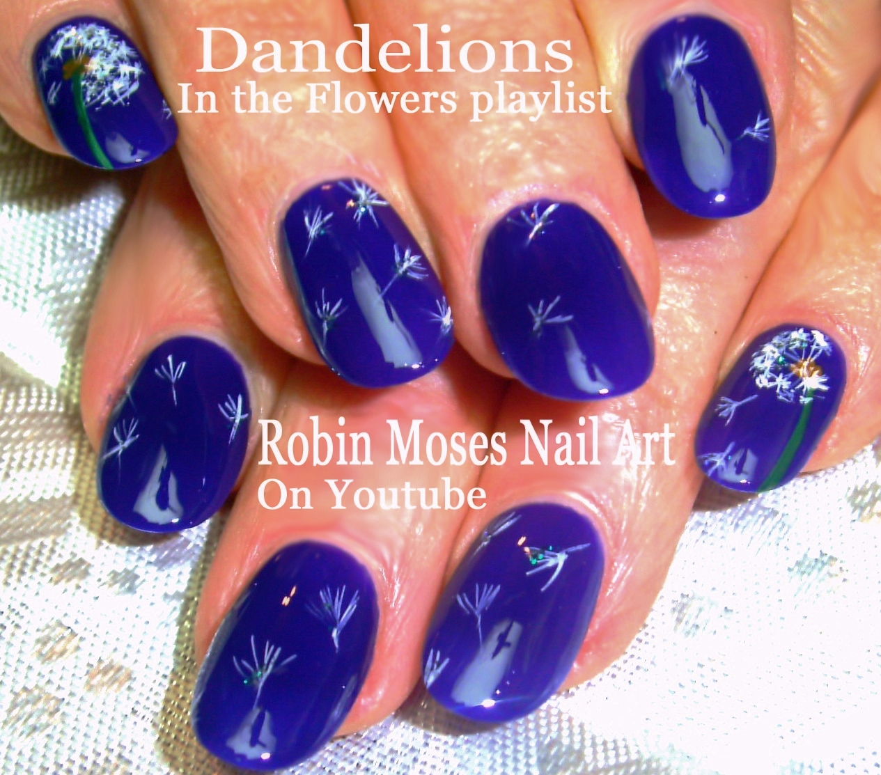 Nail Art By Robin Moses Navy Nail Art Filled With Dandelion Wishes
