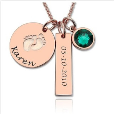 Fair Exterior Baby Feet Disc Necklace With Birthstone For New Mom Sterling Silver - Price: $ 45.99