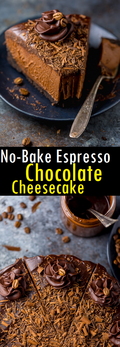 Best No-Bake Espresso Chocolate Cheesecake Recipe - An easy and delicious recipe for No-Bake Espresso Chocolate Cheesecake! So rich and creamy. It's hard to stop at one slice. #cheesecake #nobake #chocolate #cake #dessert #bestcake #bestdessert #cheesecakerecipe #easydessert #easycake