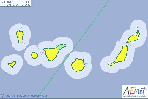 Canarias en aviso por viento Nochebuena y Navidad 2016