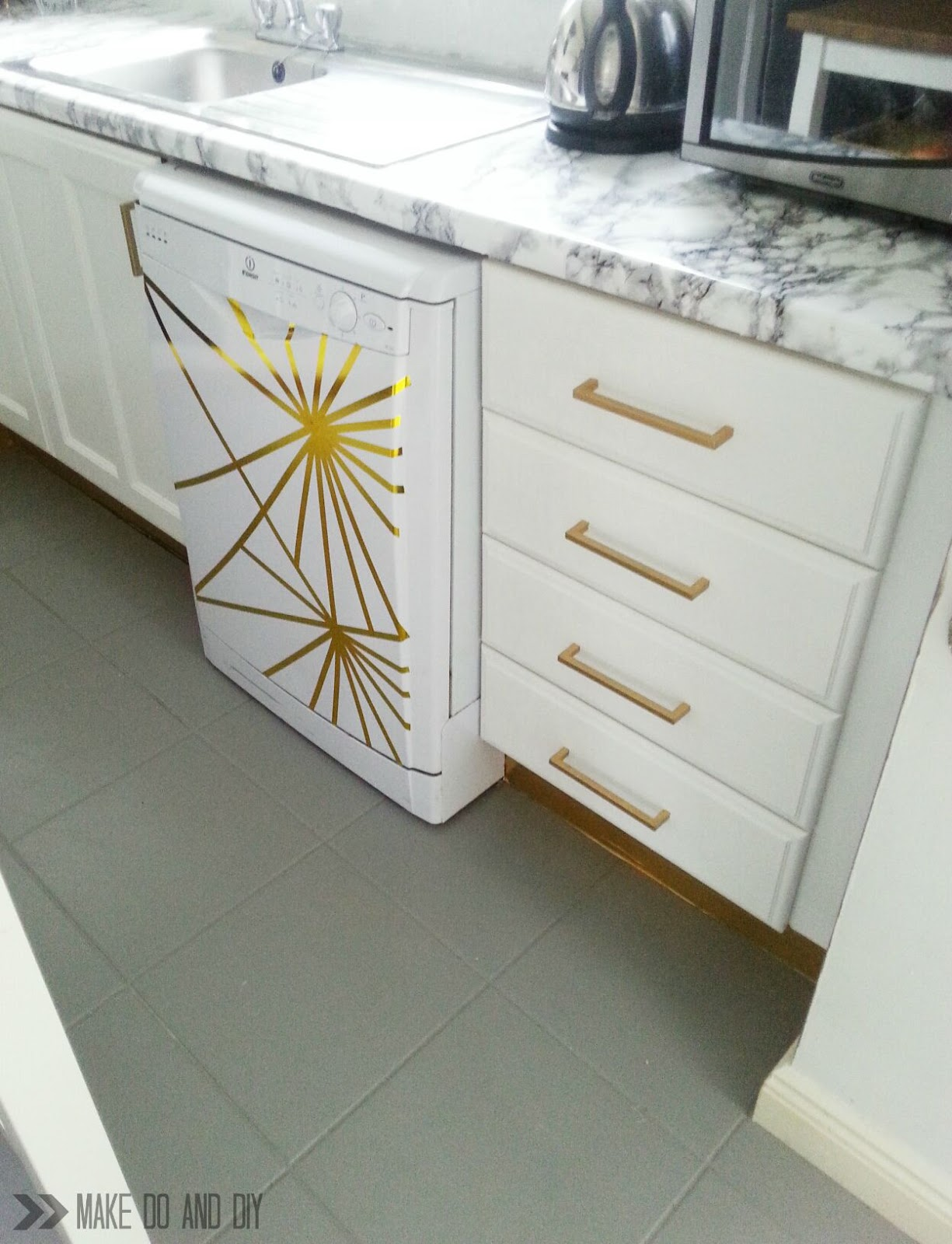 Awesome Painted Tile Floor No Really Make Do And Diy Interior Design Ideas Grebswwsoteloinfo