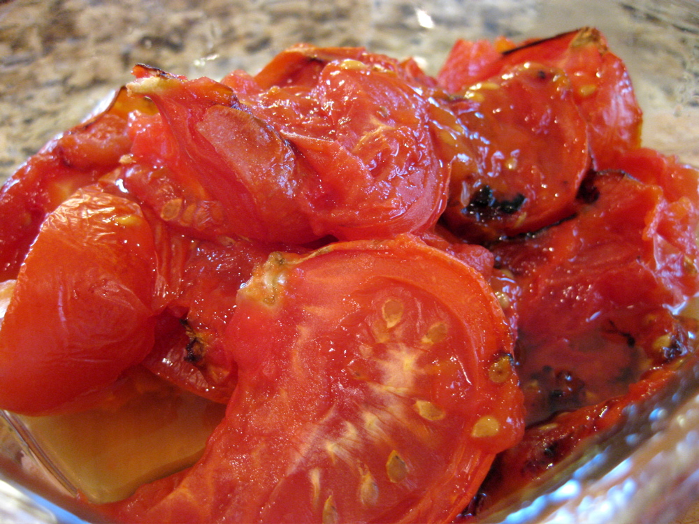 Oishikatta 美味しかった Roasted Tomatoes For Open Face Cheese