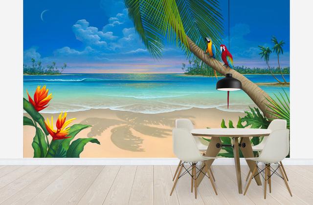 Tropiikki Tapetti Ranta Maisematapetti Luonto Palmu
