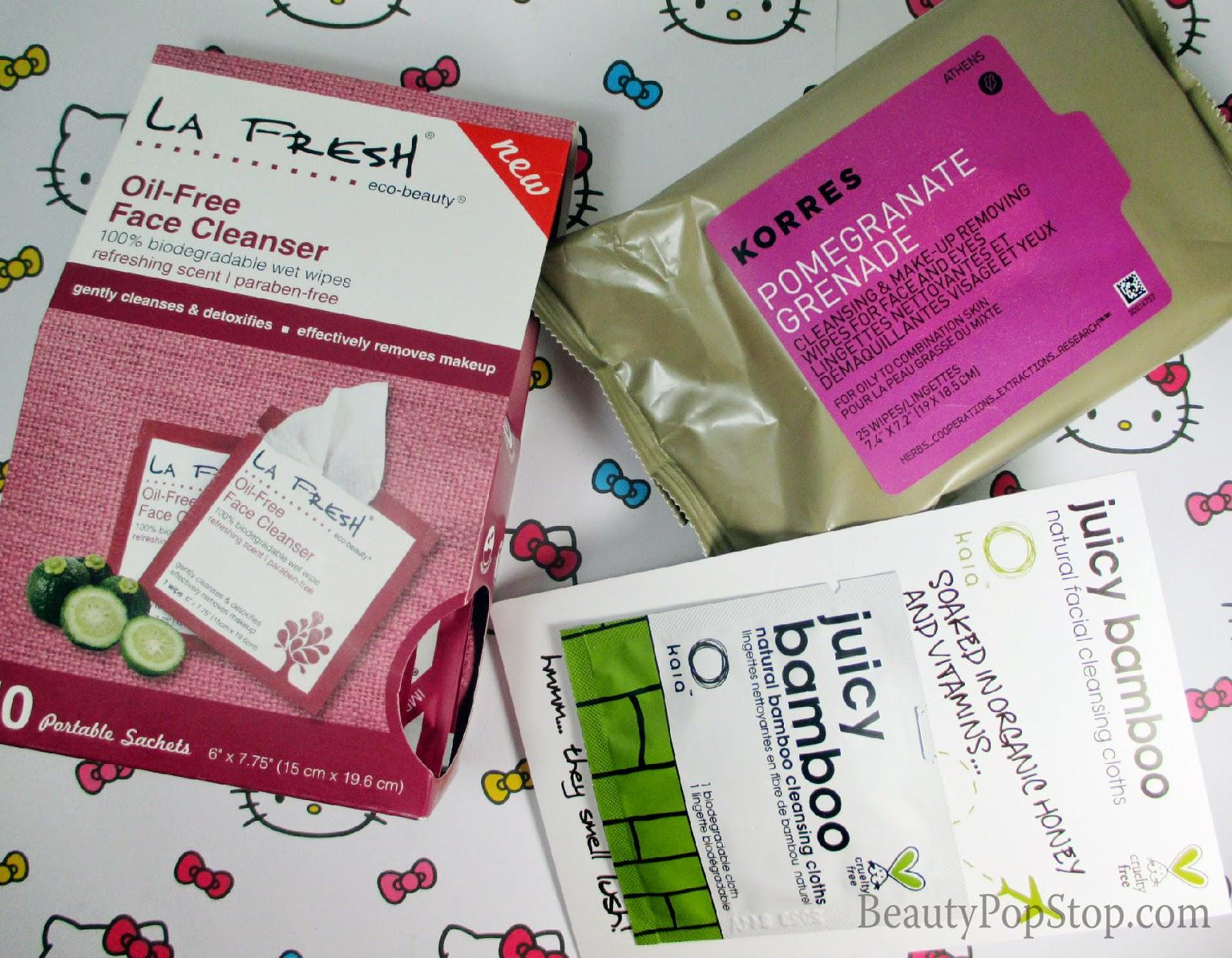 top face cleansing cloths - korres, LA fresh, kaia natural