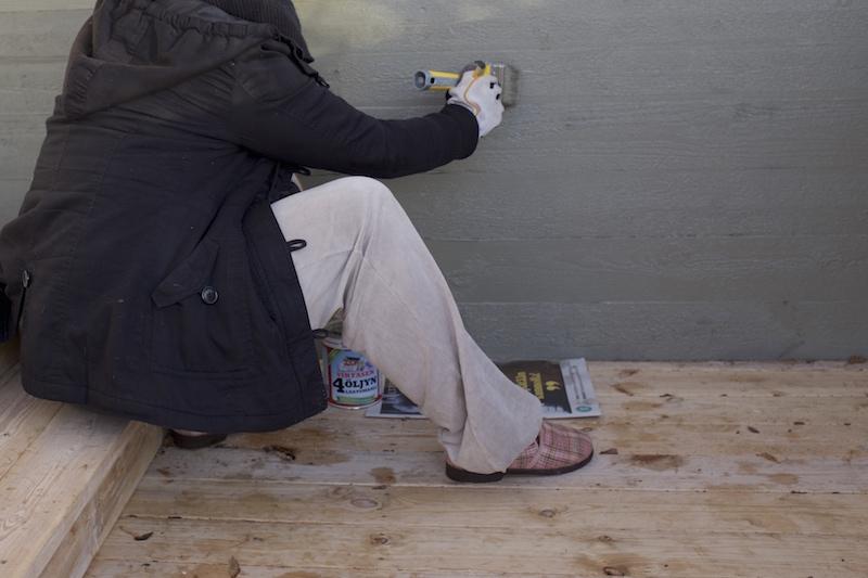 Talon maalaus talvella. Virtasen neljän öljyn maali.
