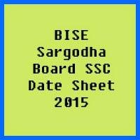 SSC Date Sheet 2017 BISE Sargodha Board