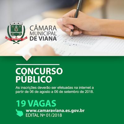 Edital Câmara de Viana Concurso 2018