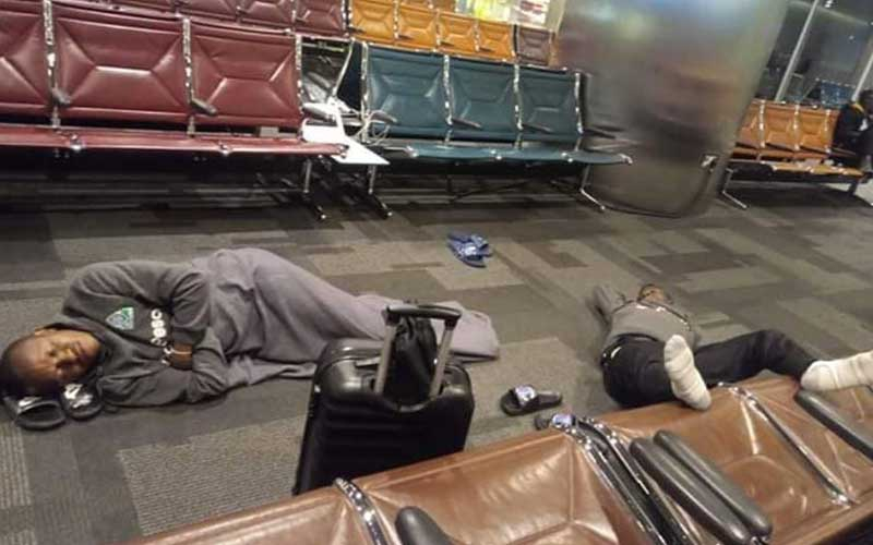 gor1 - Outrage as GOR MAHIA players are forced to sleep on the floor at Doha Airport ahead of crucial CAF match in Morocco (PHOTOs)