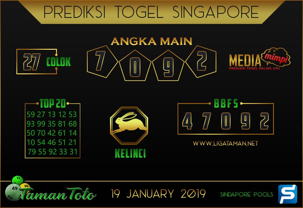 Prediksi Togel SINGAPORE TAMAN TOTO 19 JANUARI 2019