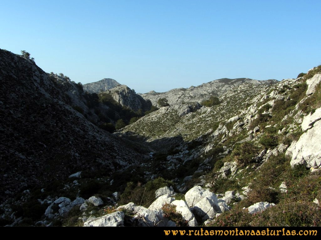Ruta Ercina, Verdilluenga, Punta Gregoriana, Cabrones: Desde el Resecu Bajo, camino al bosque de las Reblagas