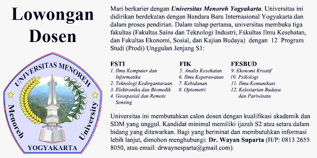 lowongan dosen, universitas menoreh, lowongan dosen yogyakarta, agustus 2017