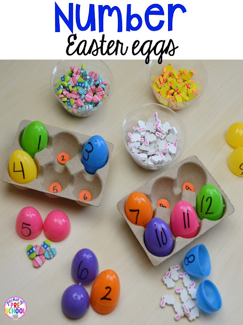 Easter egg counting activity using mini erasers. Plus peeps 5 senses and taste test FREEBIE. For preschool, pre-k, and kindergarten.
