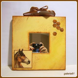 skrzynka, szkatułka dla dziewczynki, lustro, decoupage, koń