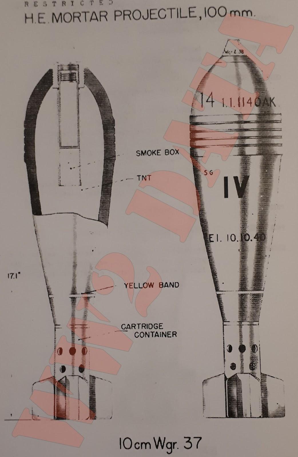 WW2 Equipment Data: German Projectiles - 100mm+ Mortar