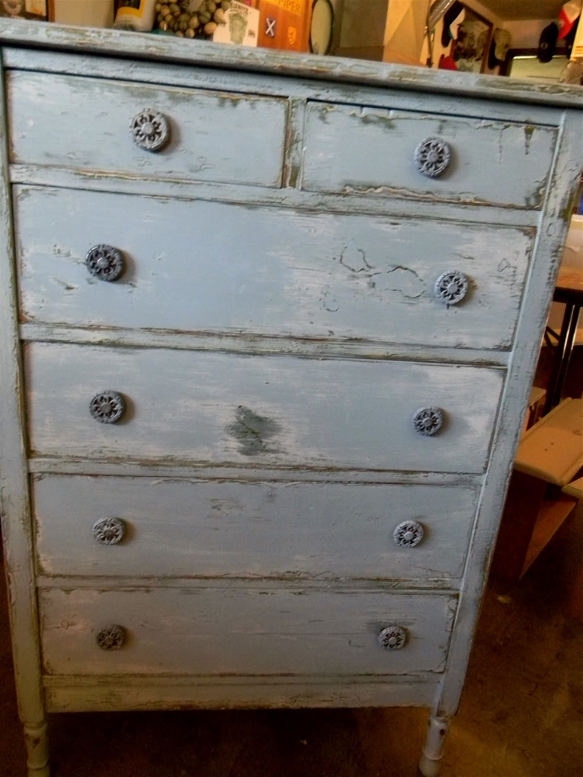 Emily S Up Cycled Furniture Rustic Blue Gray 6 Drawer Dresser