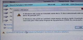 o windows não pode ser instalado neste disco