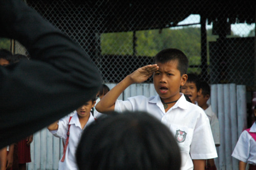 upacara bendera pertama