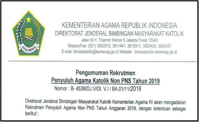 Juknis Rekrutmen Penyuluh Agama Katholik Non PNS 2019