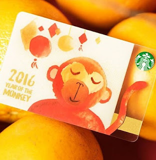 Source: Starbucks. The 2016 year of the monkey limited edition Starbucks card.