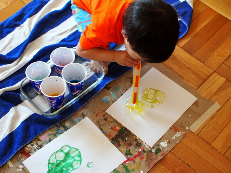 how to make bubble prints with straws