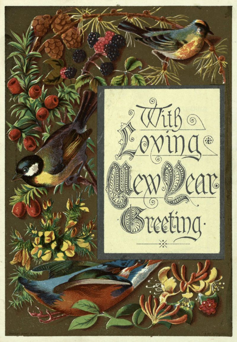 with loving new year greeting c1883 1890