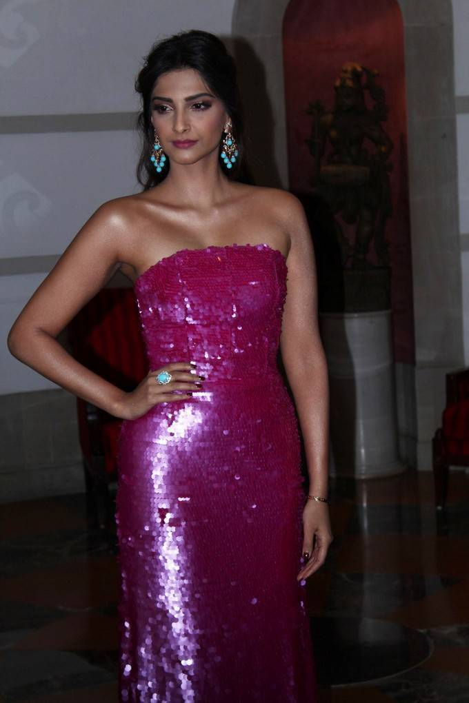 Bollywood Actress Sonam Kapoor Stills In Violet Dress