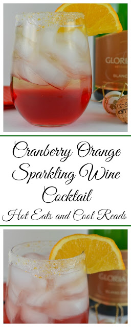 Perfect for elegant, but simple holiday entertaining! Full of delicious cranberry and orange flavor! Cranberry Orange Sparkling Wine Cocktail Recipe from Hot Eats and Cool Reads