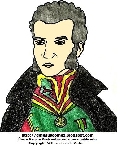 Imagen de Antonio José de Sucre a colores para niños. Dibujo de Antonio José de Sucre de Jesus Gómez