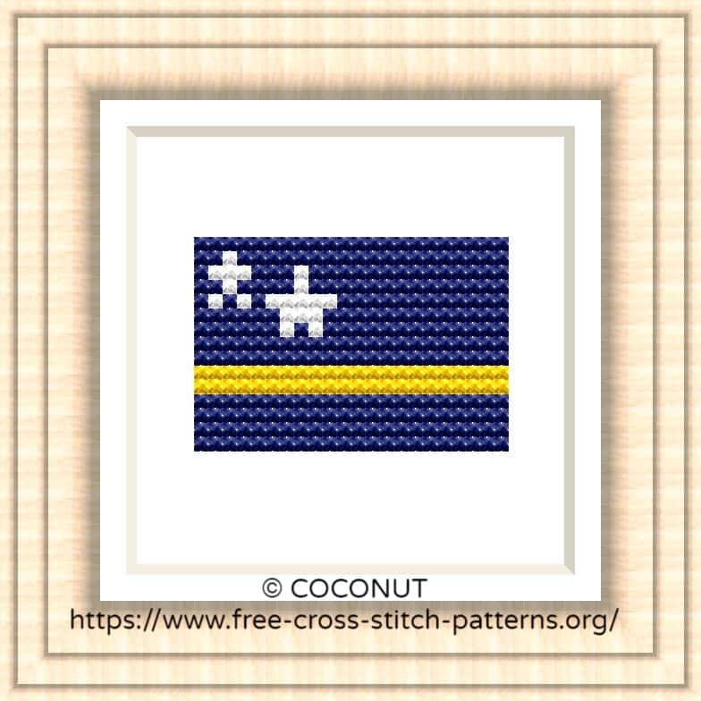 NATIONAL FLAG OF CURACAO CROSS STITCH CHART