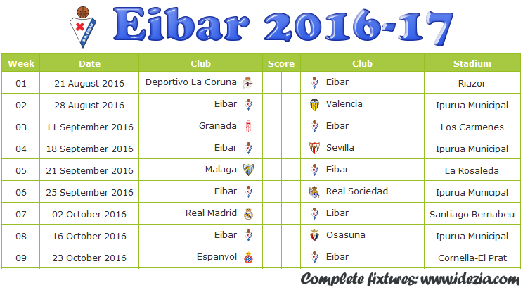 Download Jadwal SD Eibar 2016-2017 File JPG - Download Kalender Lengkap Pertandingan SD Eibar 2016-2017 File JPG - Download SD Eibar Schedule Full Fixture File JPG - Schedule with Score Coloumn