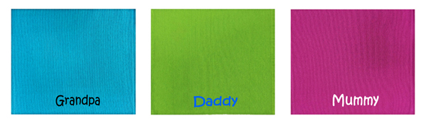 Personalized Table Mat @$14.90 each. Embroidery of name on it.
