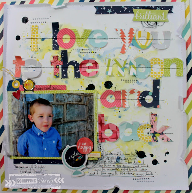 """ I love you to the moon and back"" layout by Bernii Miller for Scrapping Clearly using the Star Shine collection by Shimelle Lane."