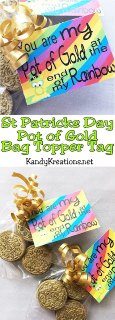Celebrate St Patrick's day with your Pot of Gold and these cute, easy, cheap St Patrick's day bag toppers.  You can make yummy gold coins from Oreo Cookies and add this printable bag topper for a great St Patrick's day gift that everyone will be lucky to receive!