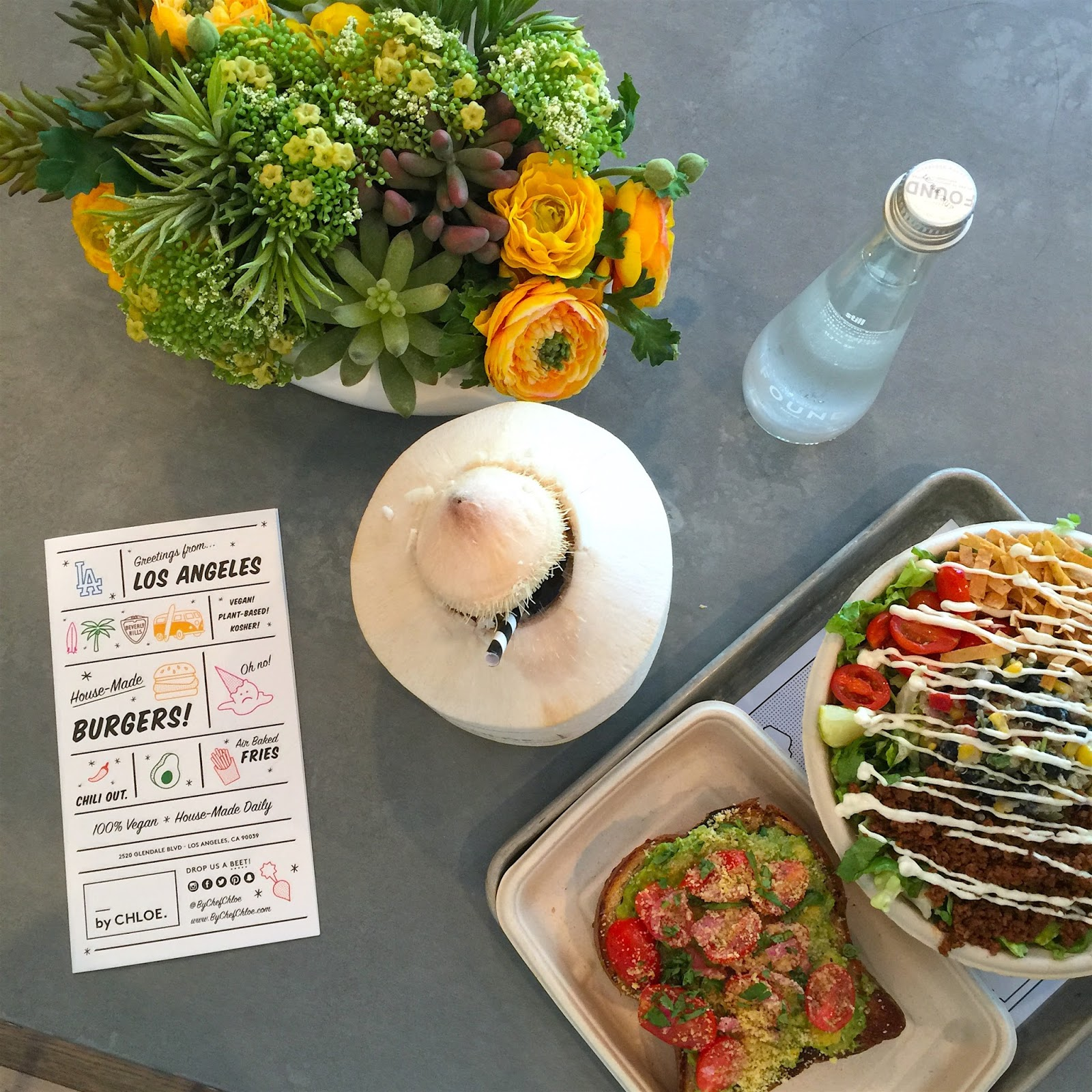 By Chef Chloe Los Angeles/Silverlake, Avocado Toast, Avocado Burger, Quinoa Taco Salad, Coconut Drink
