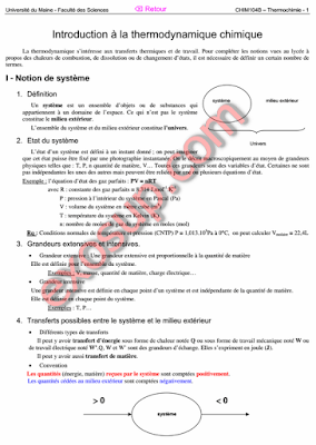 Cours Thermochimie Complet SMPC S1