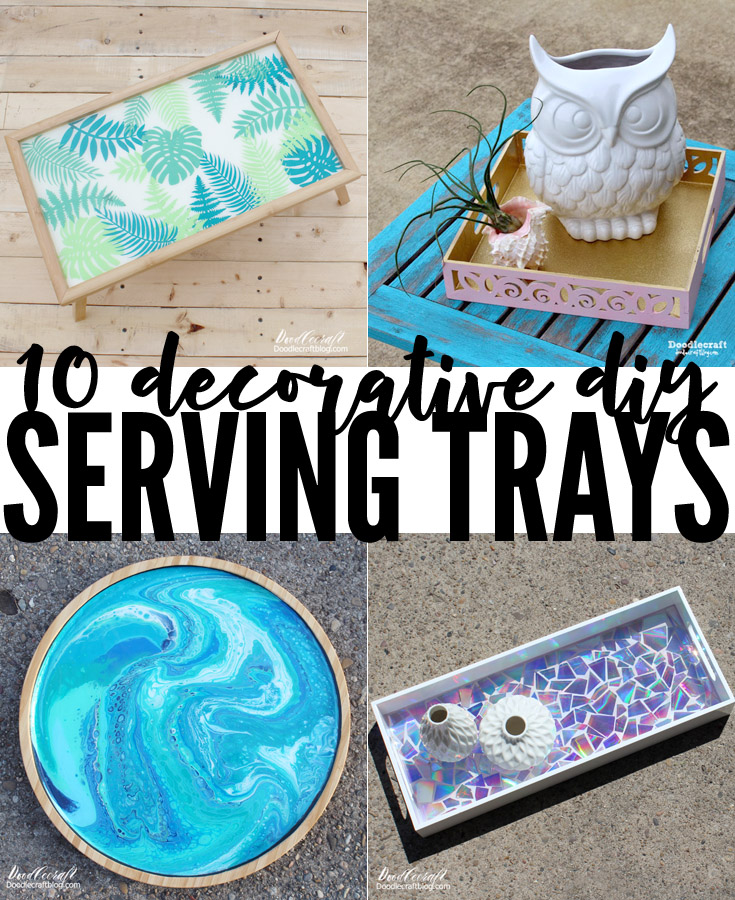 Upcycle trays with paint, resin, glitter, dvd's and more
