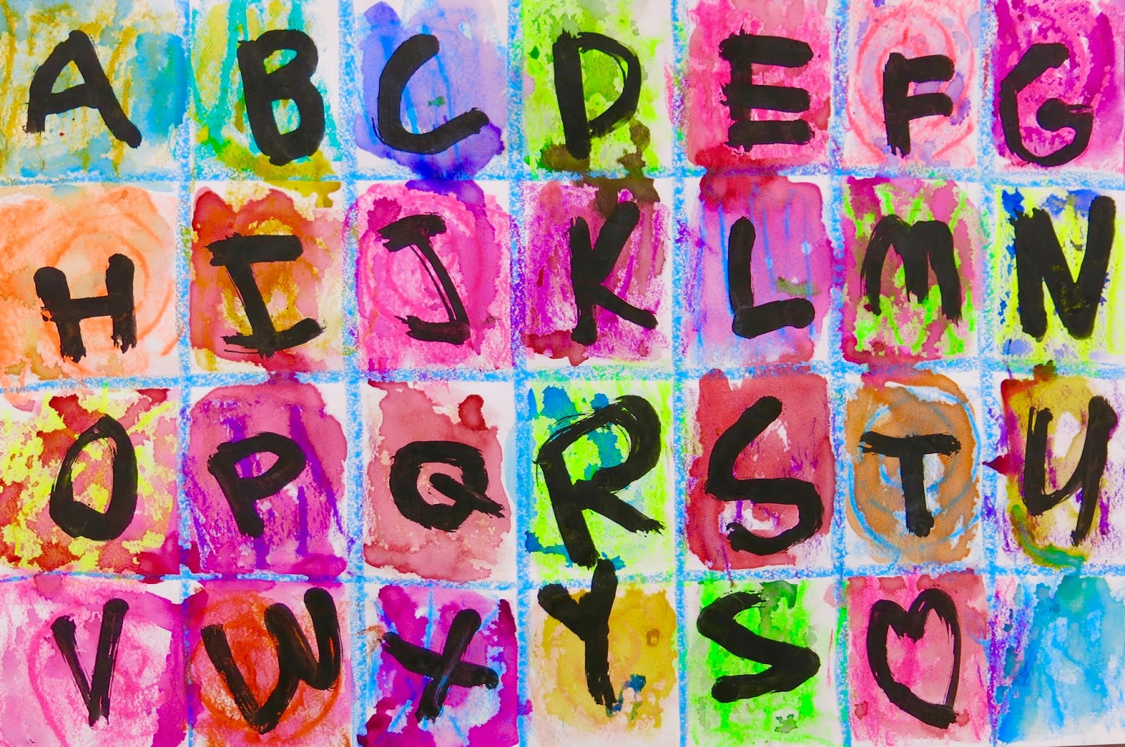 Cassie Stephens: In the Art Room: Kindergarten Alphabet Paintings