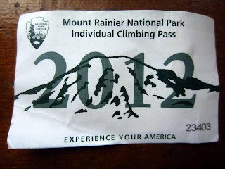 2012 Mount Rainier National Park Individual Climbing Pass.
