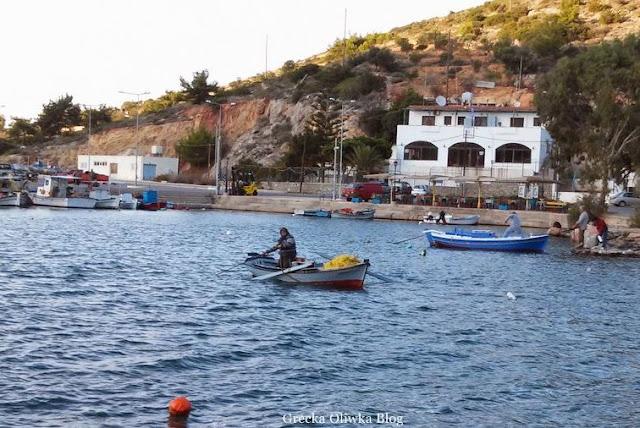 rybaczka  wypływa w morze niebieska łódka czerwono-biała łódka