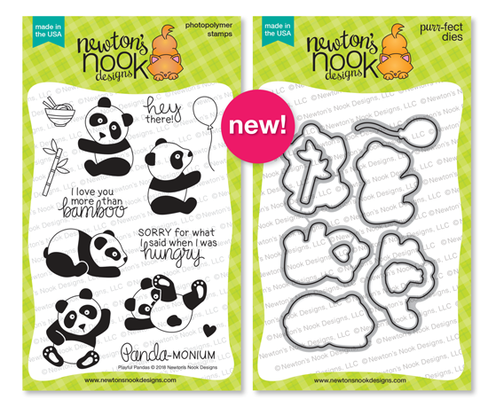Playful Pandas Stamp and Die Sets by Newton's Nook Designs #newtonsnook