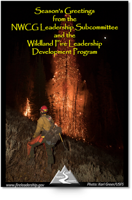 On behalf of the NWCG Leadership Subcommittee and the Wildland Fire Leadership Development Program, Season's Greetings and Merry Christmas.  [Photo credit: Kari Greer/USFS] (firefighter looking upon a fully engaged tree)