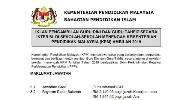 Pengambilan Guru Dini dan Tahfiz Secara Interin di Kementerian Pendidikan Malaysia 2019