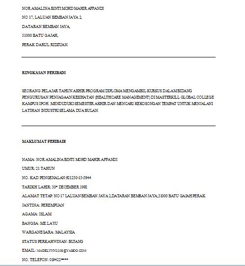Resume Untuk Internship Dcarmina