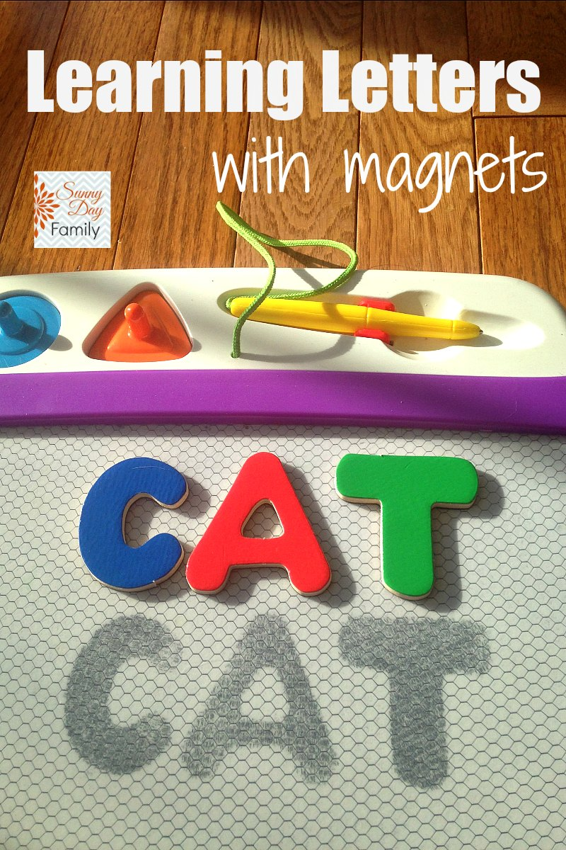Alphabet learning activity for toddlers & preschoolers using magnets! Easy and engaging way to learn letters.