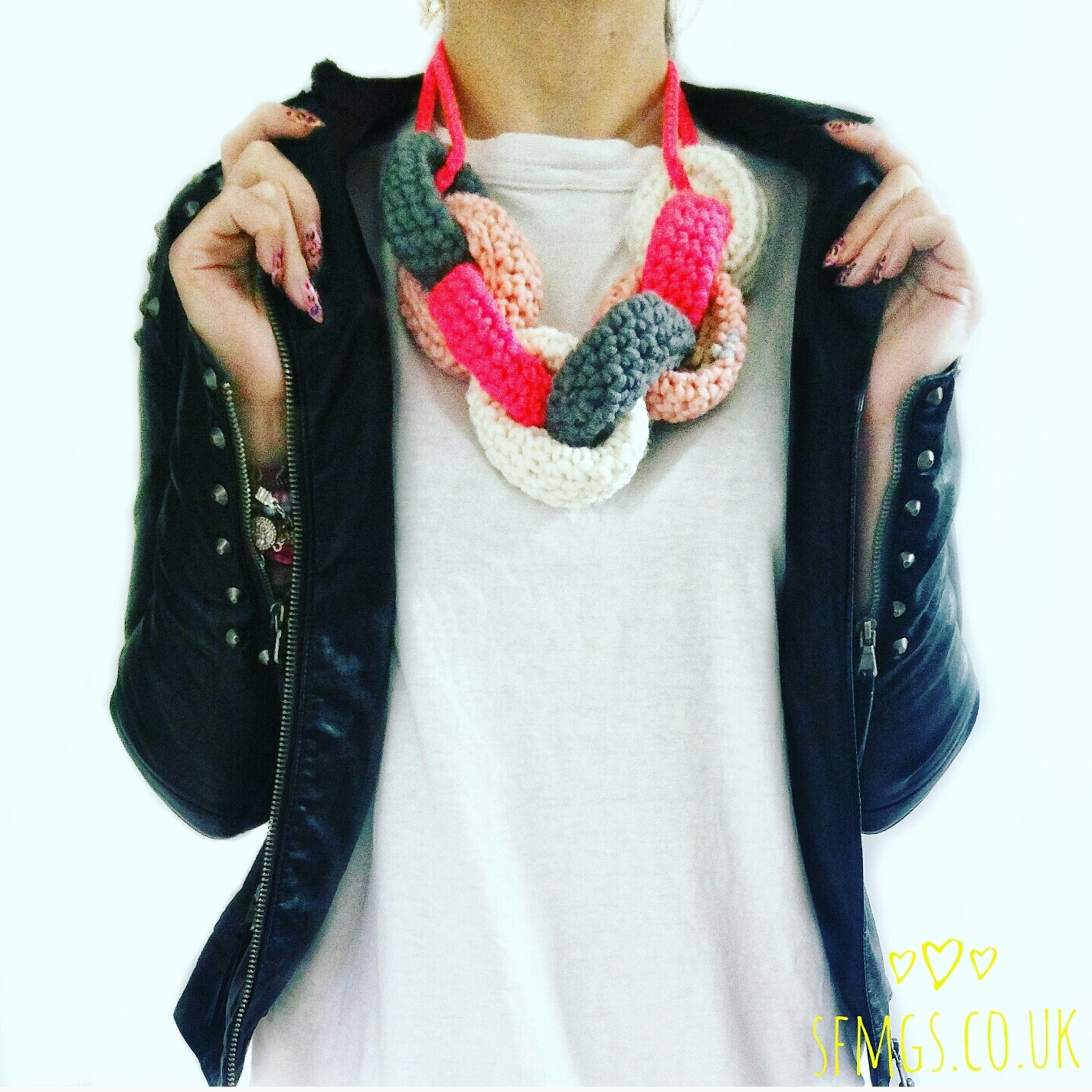 crochet chain link necklace
