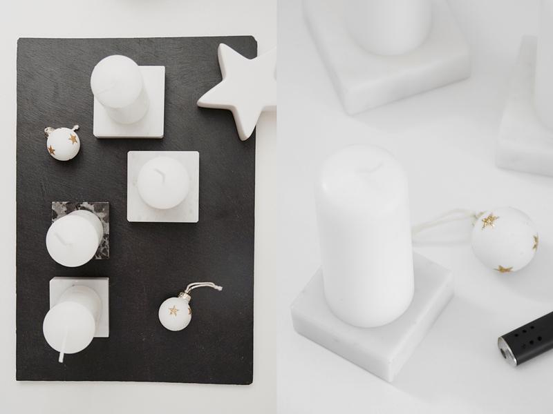 DIY einfache Marmor-Kerzenständer als Adventskranz und Weihnachtsdeko in schwarz-weiß, schnelles Upcycling Pokalsockel zum minimalistischen Kerzenständer