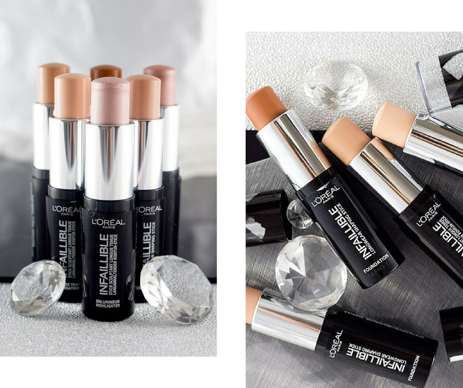 L'Oréal Infaillible Kontur-Stick Highlighter und Foundation Sticks, Swatch, alle Nuancen