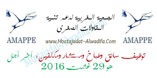 الجمعية المغربية لدعم تنمية المقاولات الصغرى توظيف سائق وطباخ ومستشار ومكلفين؛ آخر أجل هو 29 غشت 2016