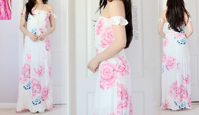 Details on the pastel pink and blue watercolor print ruffled off-shoulder button-accented double slit maxi dress from SheIn.