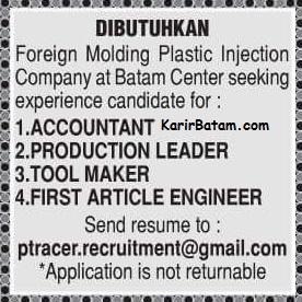 Lowongan Kerja PT. Racer Indonesia